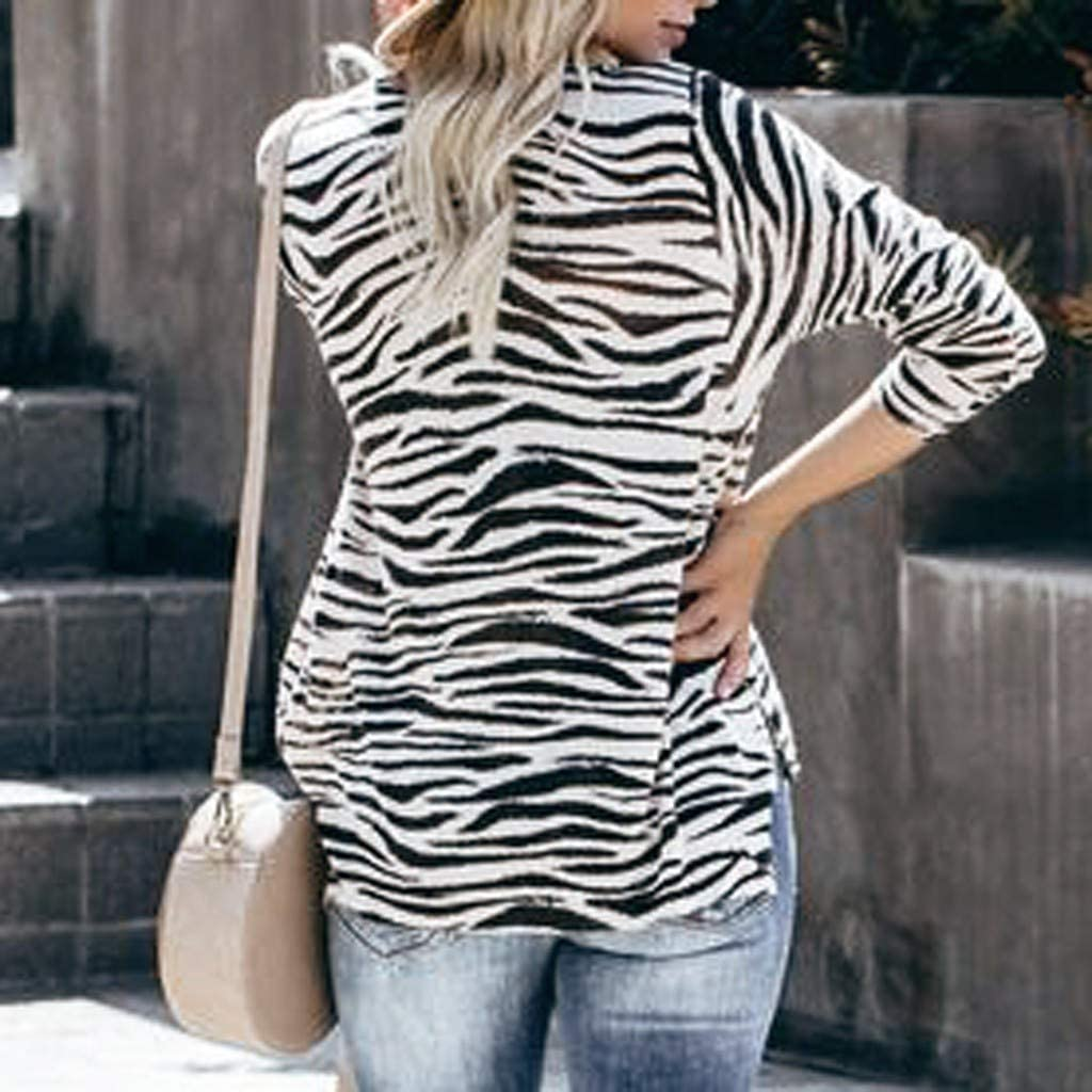 Meikosks Ladies Zebra Print Tops Long Sleeve Round Neck T Shirt Camouflage Pullover Blouses