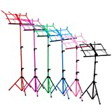 H&S® Colourful Metal Folding Sheet Music Stand Holder Tripod Base Foldable + Carry Case (Black)