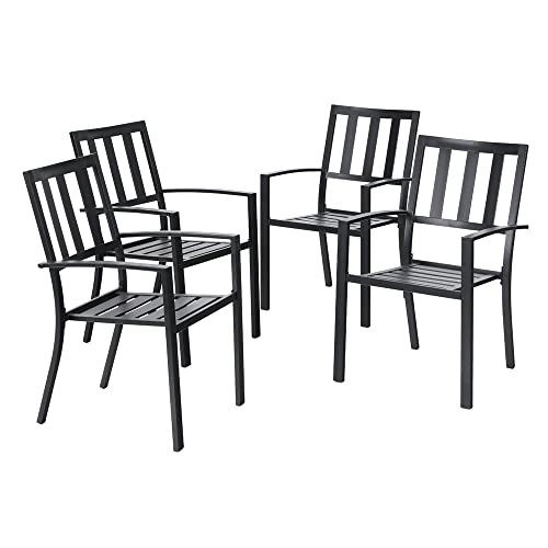 PHI VILLA Outdoor Patio Steel Frame Slat Seat Dining Arm Chairs Set of 4 for Garden,Backyard – Black