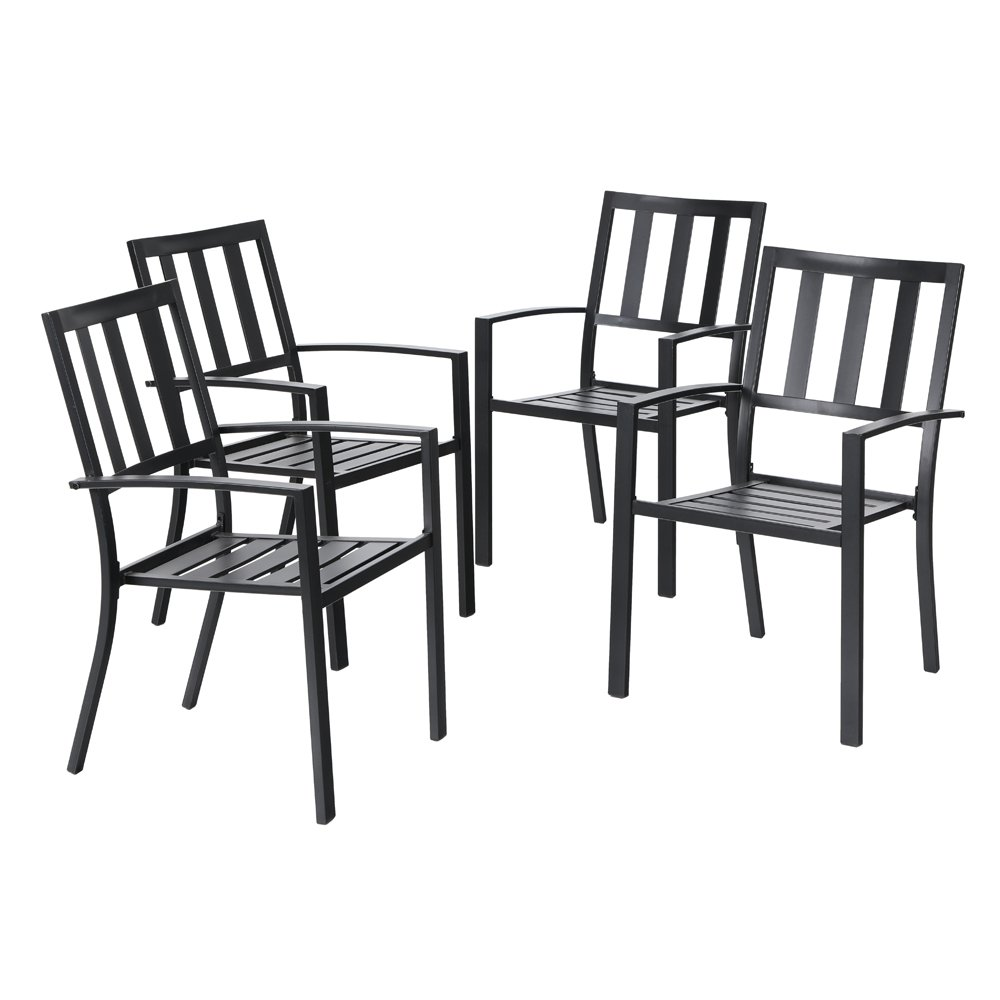 PHI VILLA Outdoor Patio Steel Frame Slat Seat Dining Arm Chairs Set of 4 for Garden,Backyard