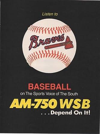 Vintage Magazine Print ad: 1989 Atlanta Braves Baseball, AM
