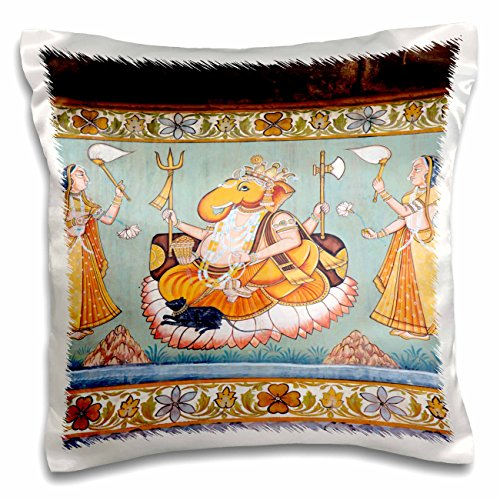 3dRose pc_188254_1 Mural Painted on The Wall, Mehrangarh Fort, Jodhpur, Rajasthan, India. - pillow Case, 16 by 16