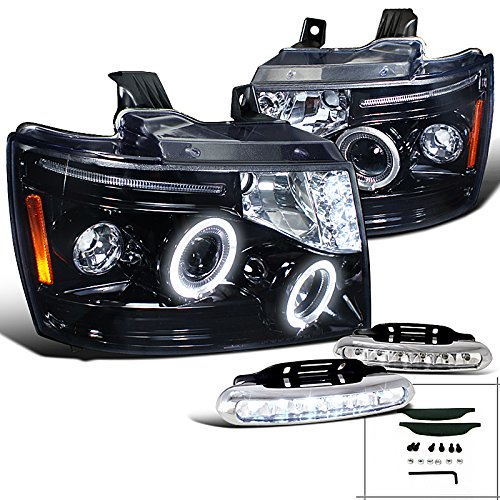 Chevy Avalanche Tahoe Suburban, Glossy Black Halo Proj Headlights, Led Drl Lamps