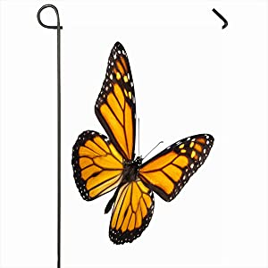 "Ahawoso Outdoor Garden Flags 28""x40"" Inch Yellow Flying Monarch Butterfly White No Orange Black Nature Bright Fragile Vertical Double Sided Home Decorative House Yard Sign"