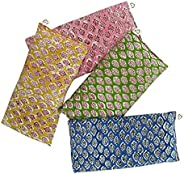Scented Eye Pillows - Pack of (4) - Soft Cotton 10 x 22 - Organic Lavender Flax Seed - hand block print India