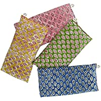 Almohadillas Ojos Perfumadas - Paquete de (4) - Algodón Suave 4 x 8.5 - Lavanda Orgánica Semilla de Lino - impresión de Mano India - Hoja Azul Amarillo Rosa Verde
