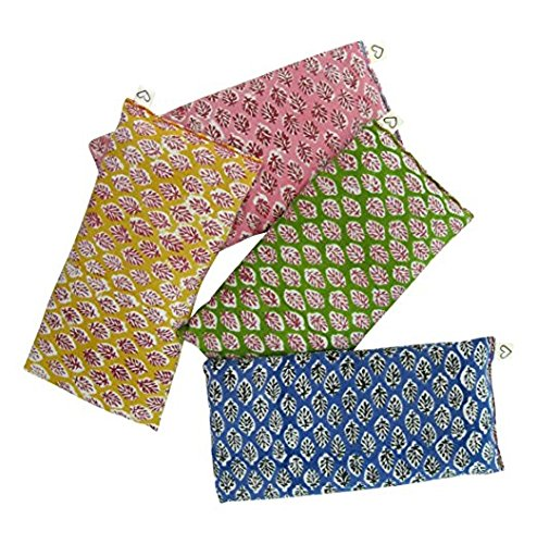 Scented Eye Pillows - Pack of (4) - Soft Cotton 4 x 8.5 - Organic Lavender Flax Seed - hand block print India - leaf blue yellow pink green by Peacegoods (Image #8)