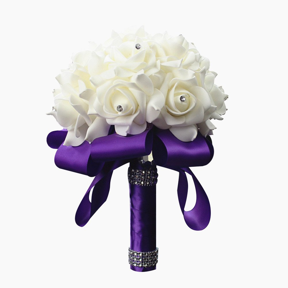 Artificial bouquets for weddings amazon stillcool wedding bouquets crystal pearl silk roses bridal bridesmaid wedding hand bouquet artificial fake flowers izmirmasajfo