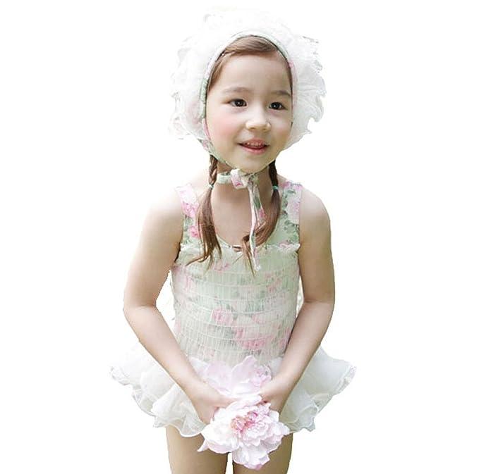 e8df6746e2 Yanzi6 Girls Romantic Flowers One-piece Veil Swimsuit with Lace Cap (90cm,  Green