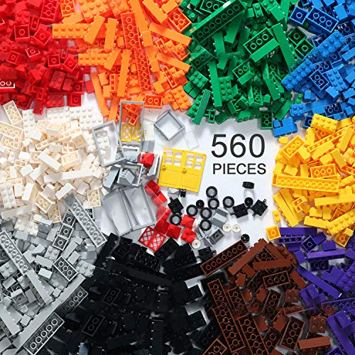 EXERCISE N PLAY 560 Piece Building Bricks Kit with Wheels, Tires, Axles, Windows and Doors Pieces - Classic Colors - Compatible with All Major Brands Include Mesh Bag