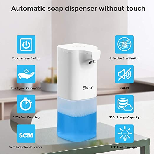 SKEY Dispensador jabon automático, 350 ml Impermeable Dispensador de Jabon electrico, Dispensador de Desinfectante Manos con Sensor infrarrojo, dispensador de jabón sin Contacto para baño y Cocina: Amazon.es: Hogar