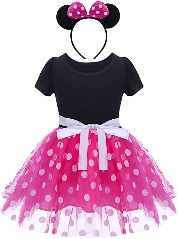 HenzWorld Girls Dress Polka Dot Costume Birthday Party Outfit Tutu Skirt Ear Headband Red
