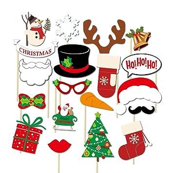 Photo Booth Weihnachten.Tinksky 19 Stucke Weihnachten Photo Booth Requisiten Schneemann Handschuhe Glocke Stiefel Requisiten Auf Sticks Fur Weihnachtsfeier Decor