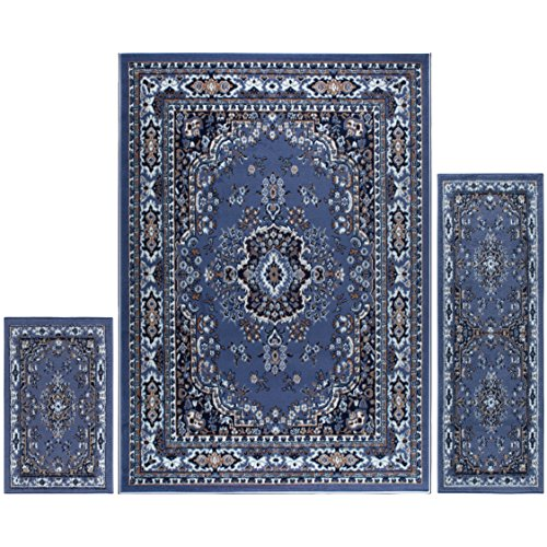 (Home Dynamix Ariana Three-Piece Rug Set 7069-310, Country Blue |Complete The Look in Any Room | Area Rug, Runner, One Scatter Mat | Easy to Clean and Care for | Fade and Stain Resistant)