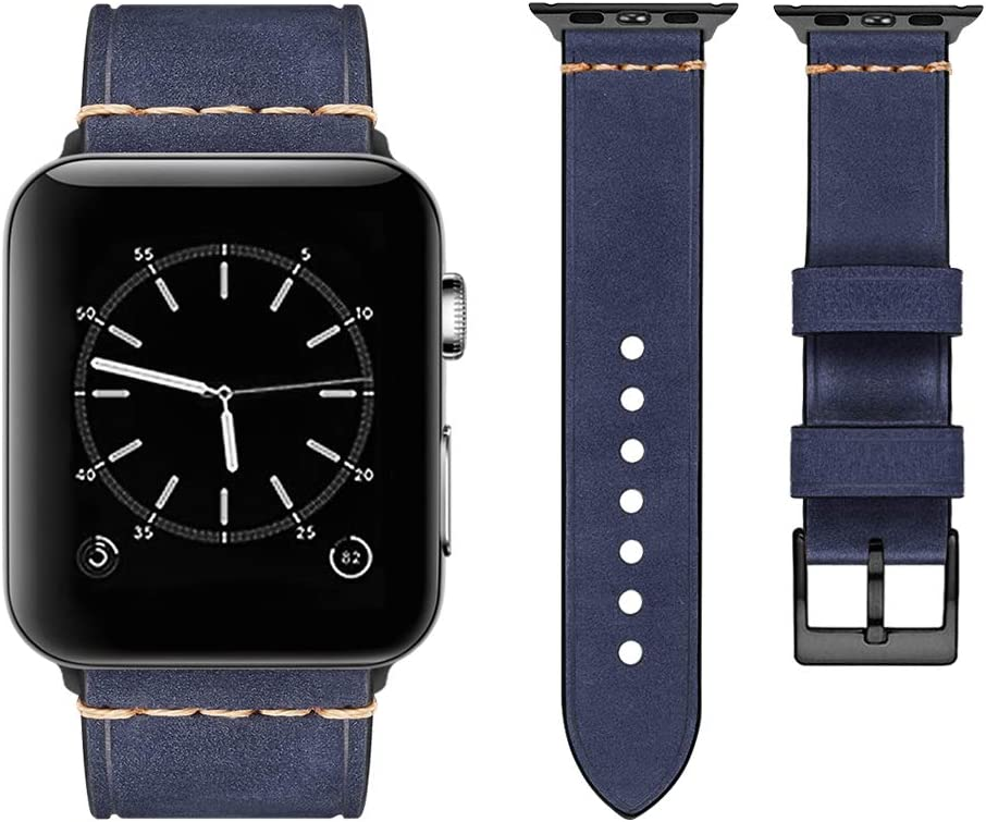 top4cus Compatible with Apple Watch 38mm 42mm 40mm 44mm Genuine Leather Strap Series 4 Series 3 Band for Men and Women (42mm/44mm, Navy)