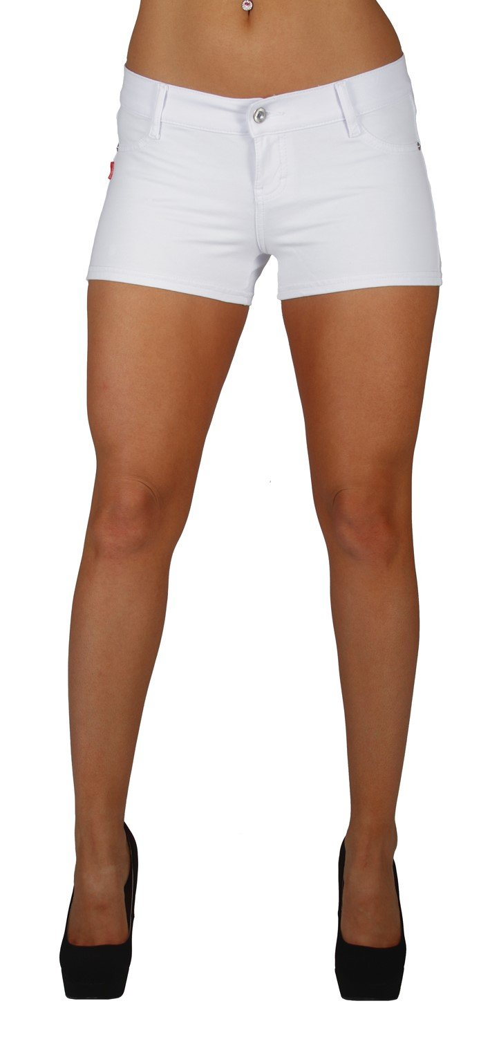 Basic Booty Shorts Premium Stretch French Terry Moleton With a gentle butt lifting stitching in White Size M