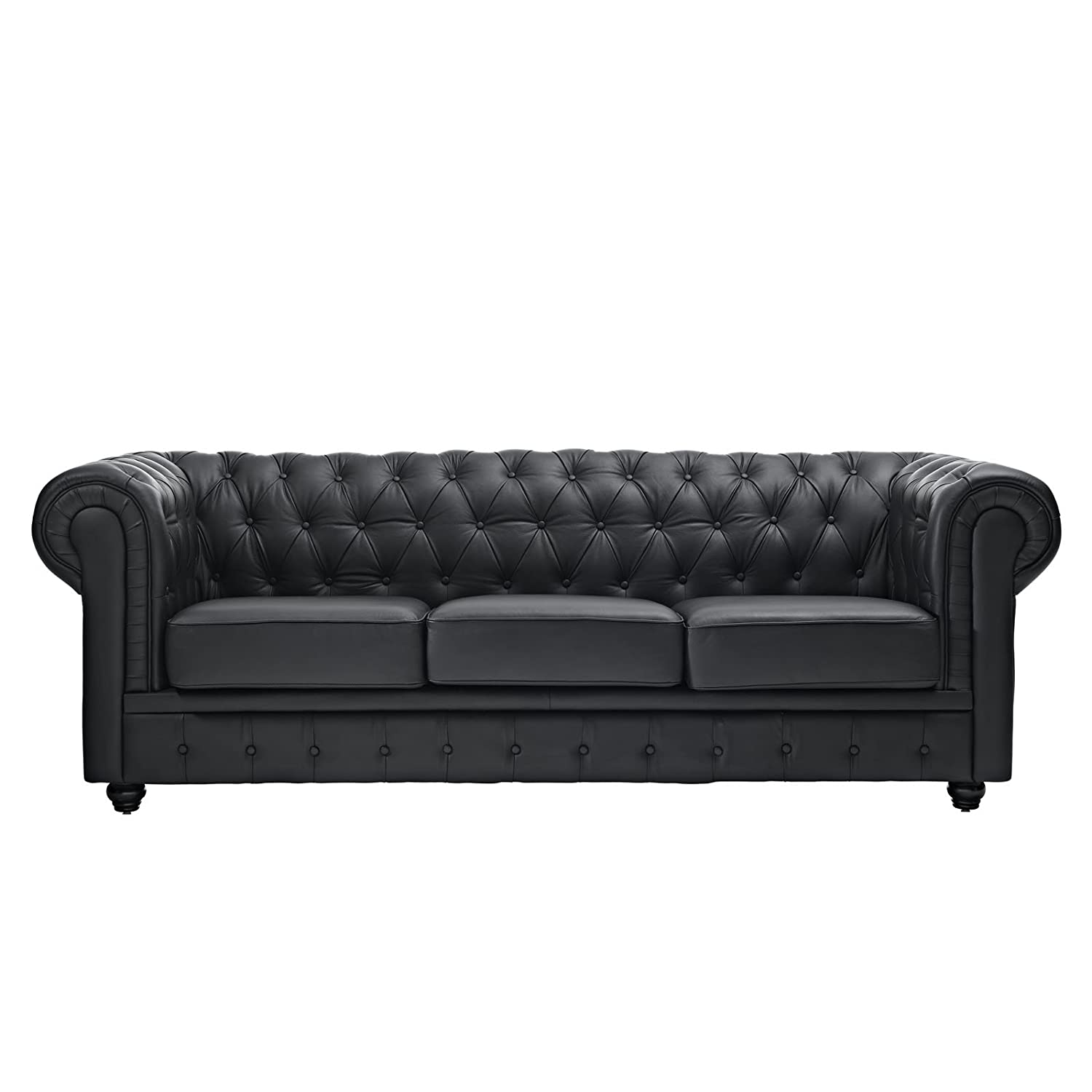 Amazon: Modway Chesterfield Sofa In Black Leather And Leather Match:  Kitchen & Dining