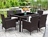 Patio Wicker Dining Set,Wisteria Lane 7 Piece Outdoor Rattan Dining Furniture Glass Table Cushioned Chair,Brown