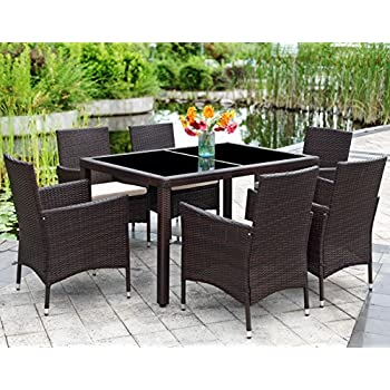 Patio Wicker Dining Set,Wisteria Lane 7 Piece Outdoor Rattan Dining  Furniture Glass Table Cushioned