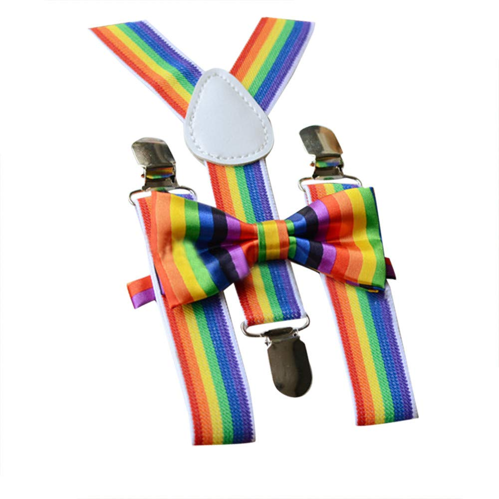 WaiiMak Kids Girls Boys Rainbow Multicolor Braces Suspenders and Rainbow Bow Tie Set (A)