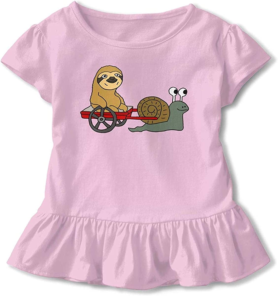 Toddler Baby Girl Funny Cool Sloth in Red Wagon Pulled by Snail Funny Short Sleeve Cotton T Shirts Basic Tops Tee Clothes