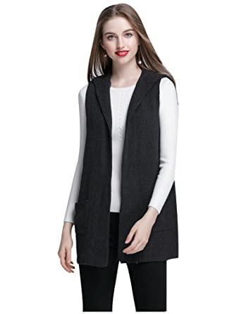 fd4fca1910 ELFJOY Women s Sleeveless Cardigan Sweater Vest Open Front Hooded Shawl  Draped with Pockets at Amazon Women s Clothing store