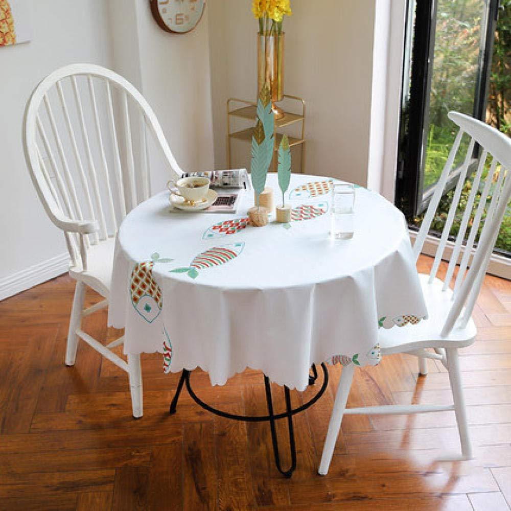 WJJYTX Wachstuch Tischdecke, Runde wischen Tischdecke rechteckige wasserdichte Vinyl PVC Tischdecke für Garten Küche Outdoor oder Indoor mehrere Muster-130_E
