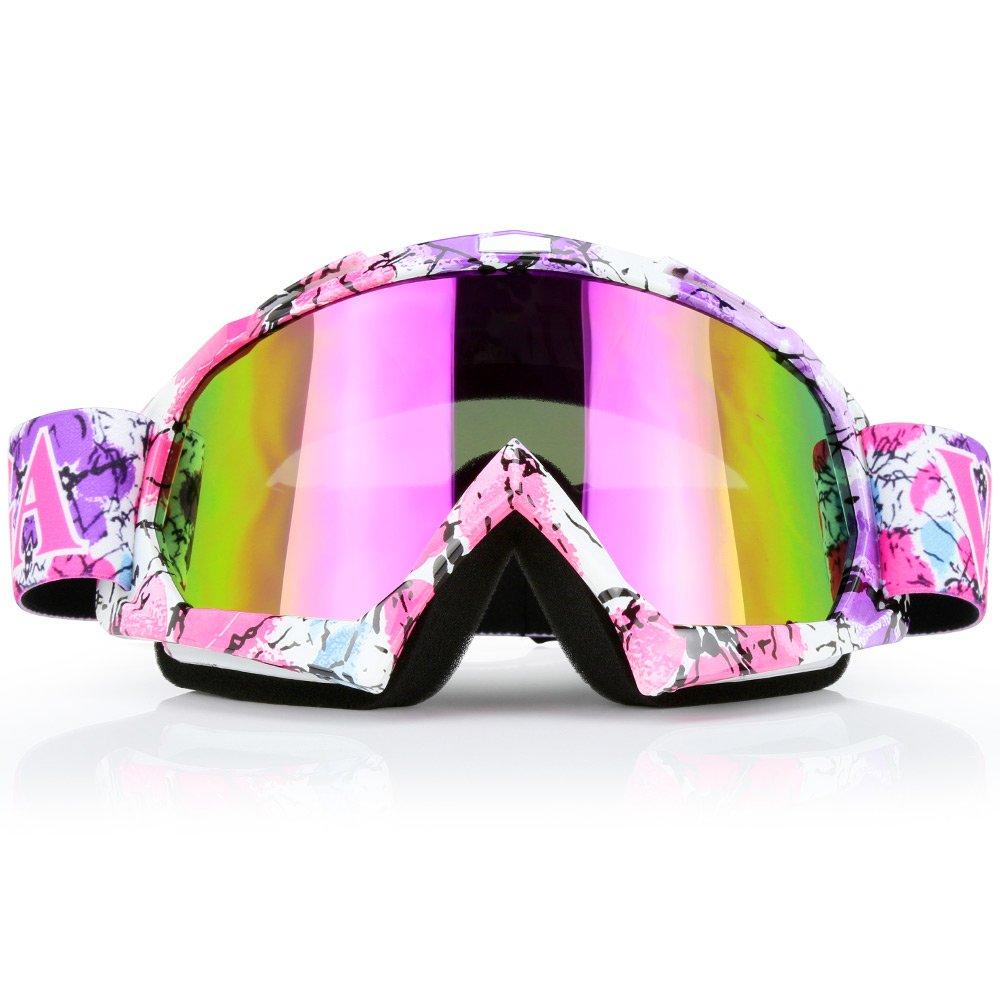 JAMIEWIN Pink Motocross Motorcycle Goggles Dirt Bike ATV Racing Mx Goggles for Men Women Youth Kids (C42) by JAMIEWIN