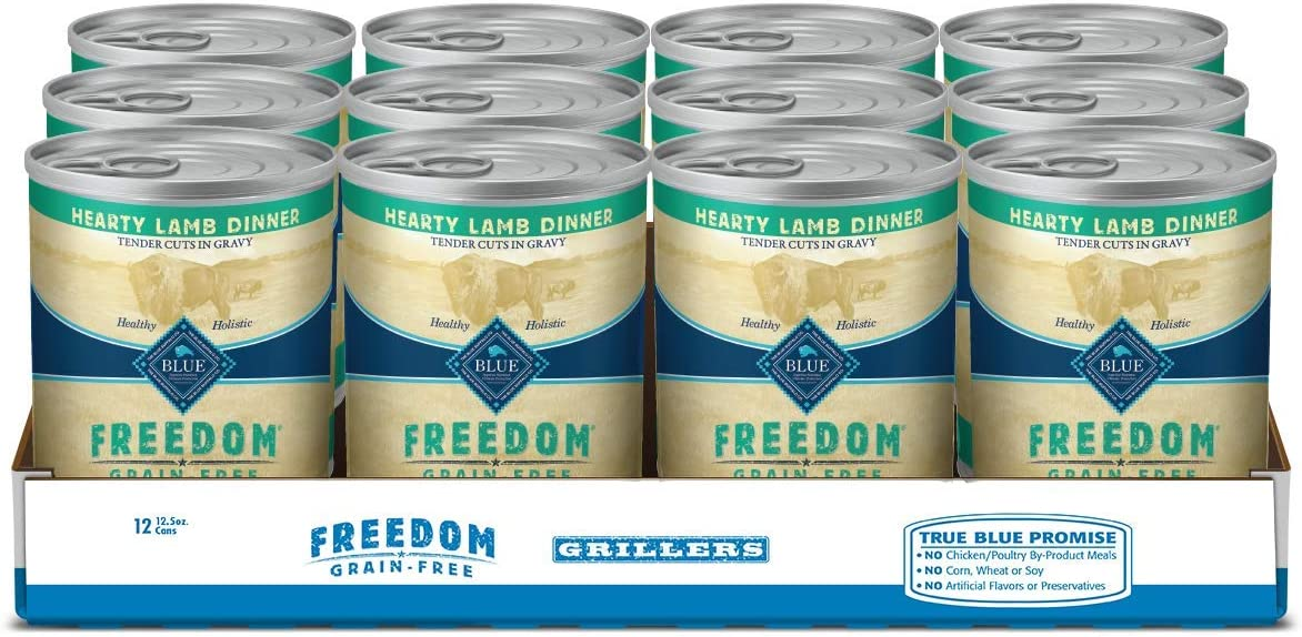 Blue Buffalo Freedom Grillers Grain Free Natural Adult Wet Dog Food, Hearty Lamb 12.5oz cans (Pack of 12)