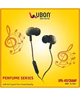 Ubon GPR-411 Champ 3.5mm In-Ear Earphone with Mic Clear Sound Audio & Dynamic Bass Plug-in Earbuds for Mobile Smartphone Tablet Laptop (Black)