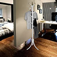 11 Hooks Standing Metal Coat Hat Rack Entryway Coat Tree with Base for Coat Hat Purse Jacket (White-1)
