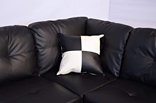 Sofa Sectional Sofa, L-Shape Faux Leather Sectional Sofa Couch Set with Chaise, Ottoman, 2 Toss Pillow Using for Living Room Furniture. Black