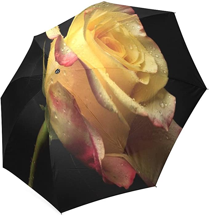 Custom Yellow Rose Compact Travel Windproof Rainproof Foldable Umbrella
