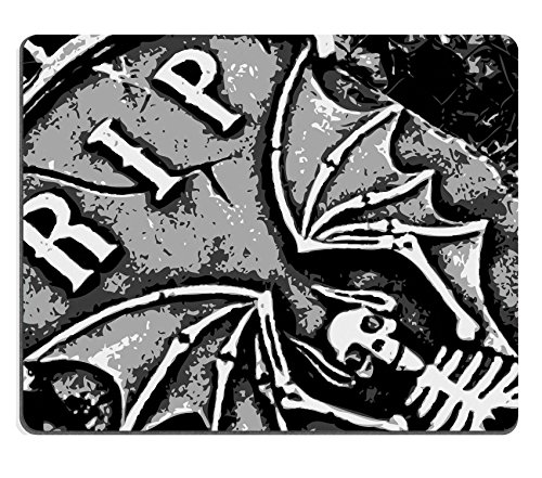 MSD Natural Rubber Mousepad IMAGE ID: 1852043 halloween grunge RIP bat skeleton wings on tombstone (Tombstone Funny Quotes)