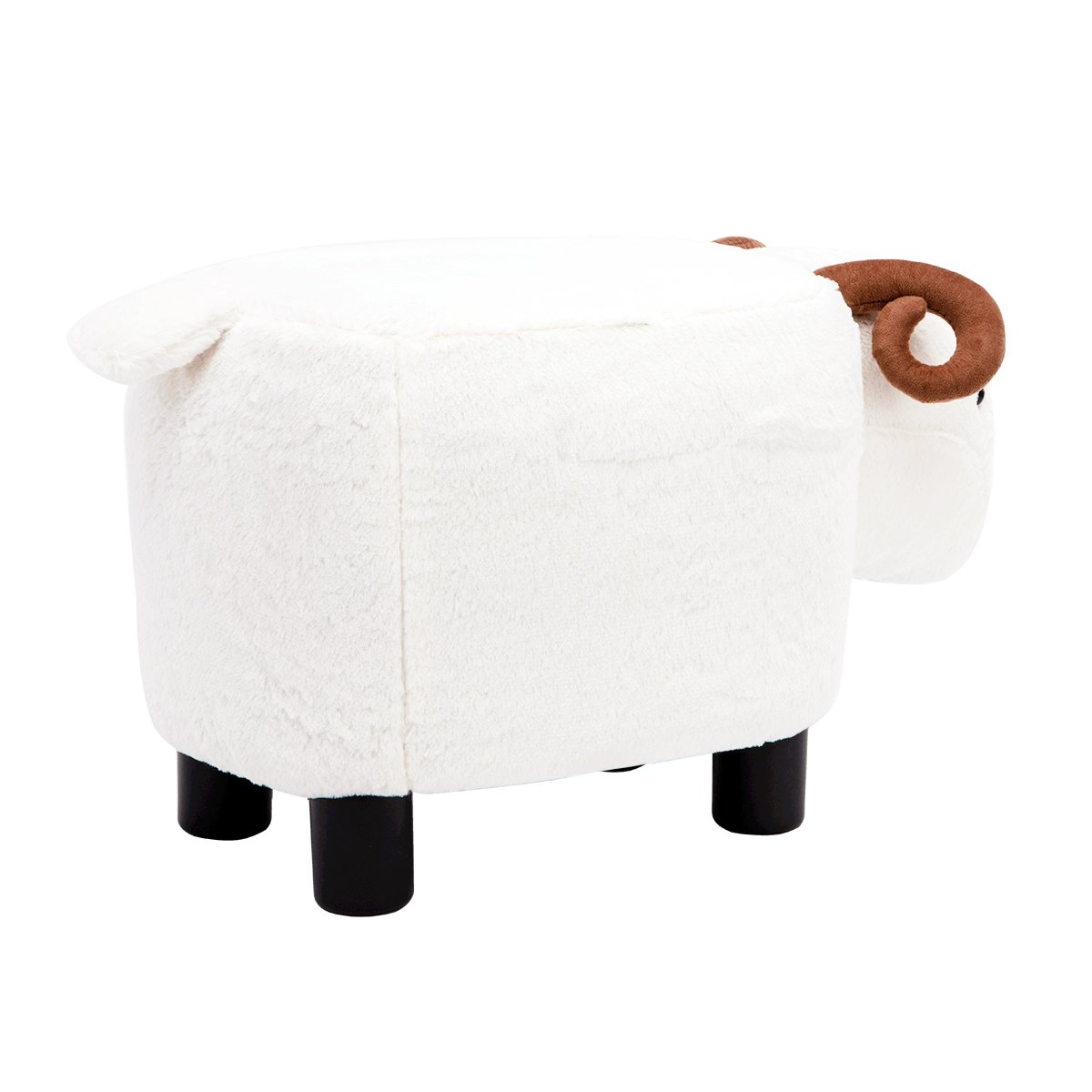 Brown Hippo Guteen Upholstered Ride-on Toy Seat Storage Ottoman Footrest Stool with Vivid Adorable Animal-Like Features