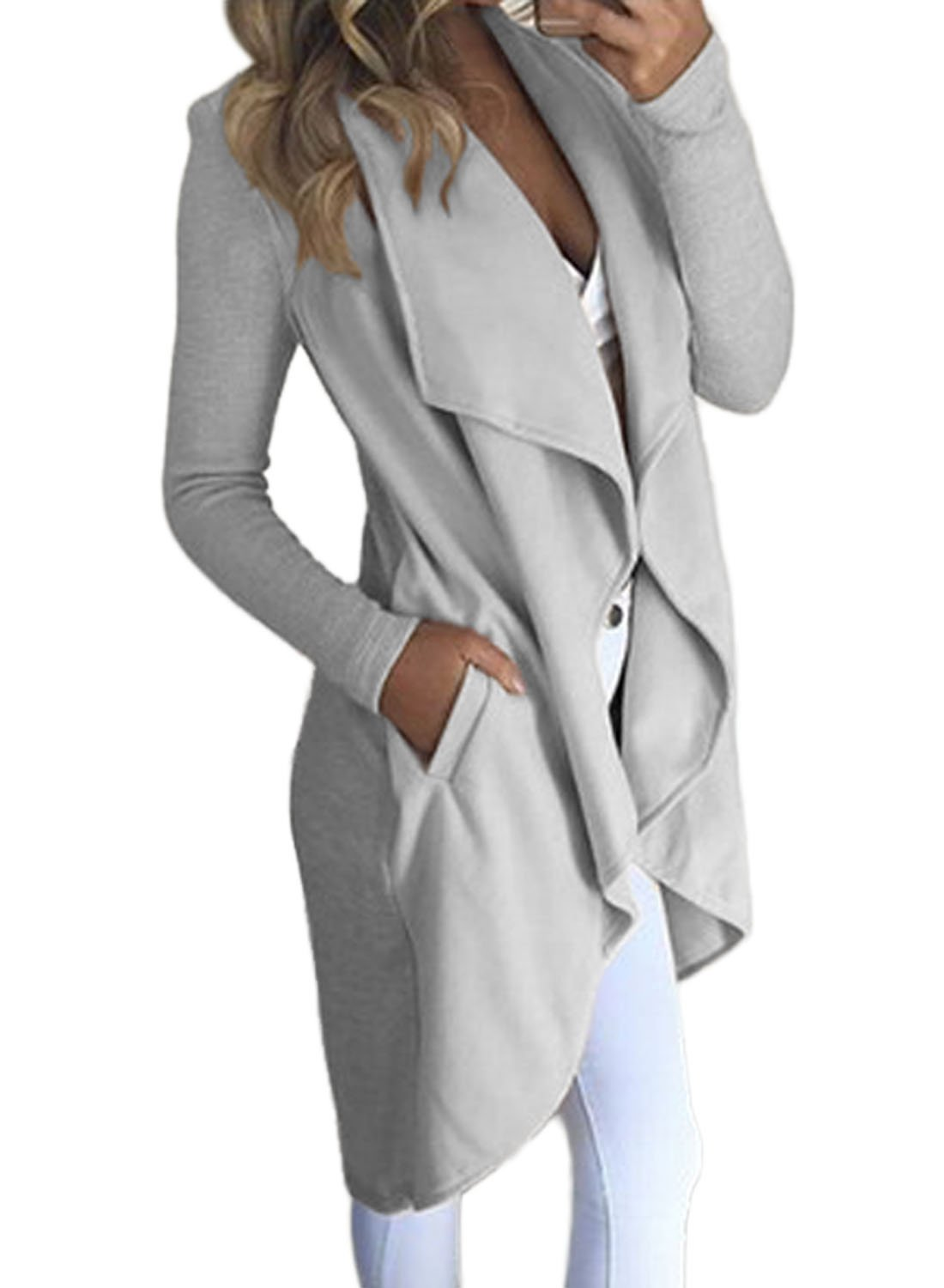 HOTAPEI Women's Cardigan Winter Wide Lapel Pocket Wool Blend Coat Long Trench Coat Outwear Wool Coat Cardigans For Women Grey Small