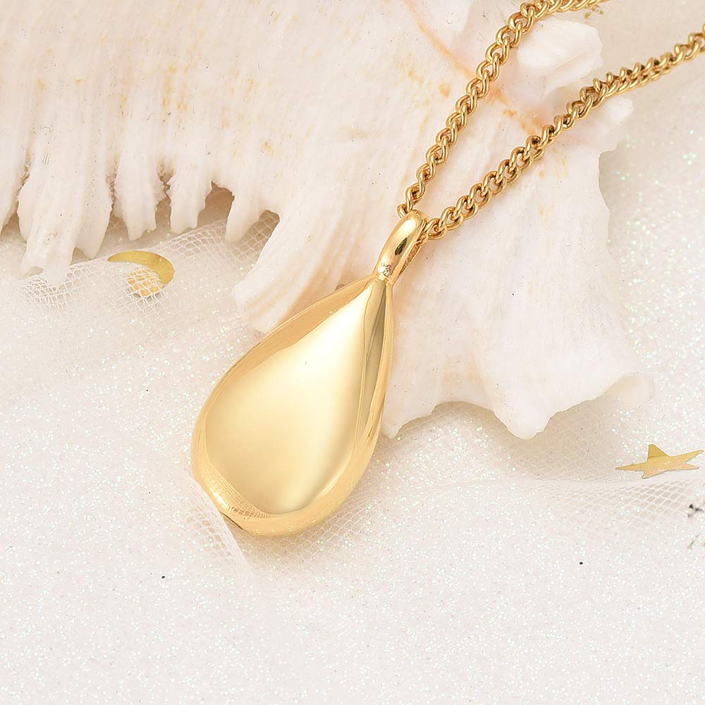 Yinplsmemory Cremation Ashes Jewelry Teardrop Urn Pendant Necklace for Ashes Stainless Steel Keepsake Memorial Ashes Holder for Son