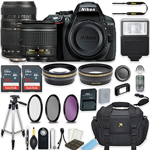 Cheap Nikon D5300 24.2 MP DSLR Camera (Black) w/AF-P DX NIKKOR 18-55mm f/3.5-5.6G VR Lens & Tamron 70-300mm f/4-5.6 Di LD Lens Bundle includes 64GB Memory + Filters + Deluxe Bag + Accessories