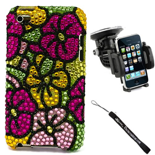 eBigValue Hawaiian Flower Luxury Premium Crystal Rhinestone Cover Hard Case for Apple iPod Touch 4 + Determination Hand Strap + Windshield Car Mount