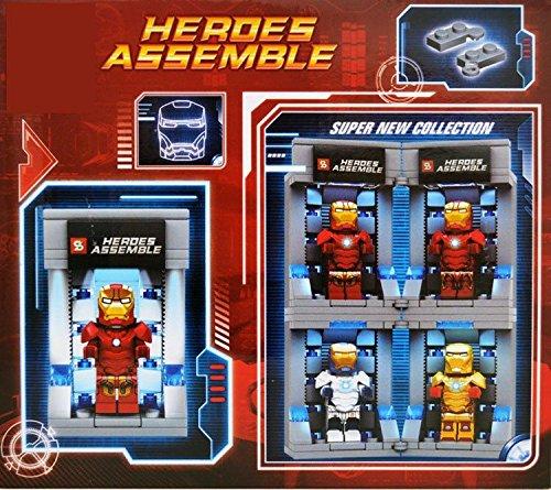 New Hot 4 Set Iron man Hall of Armor Hangar Base Minifigures Building Blocks Toy