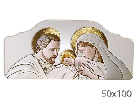 Vetrineinrete® Quadro con sacra famiglia natività per capezzale camera da  letto su legno quadri sacri arredo casa 50x100 cm (Oro) X