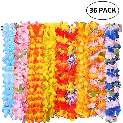 Moon Boat 36Ct Tropical Hawaiian Luau Leis Necklaces Bulk- Tiki Flowers/Summer Pool Party Supplies Decorations Favors Ornaments -