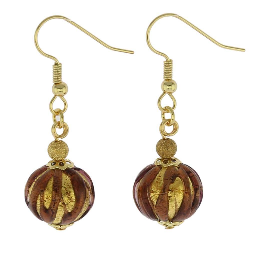 GlassOfVenice Murano Glass Royal Purple Ball Earrings ORL1S_08