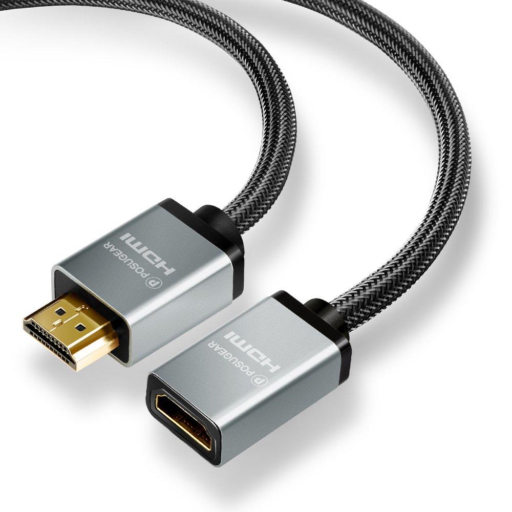 Nylon Tress/é C/âble dExtension HDMI M/âle Femelle Compatible avec HDMI 2.0a//b POSUGEAR Rallonge C/âble HDMI 1M Ultra HD, 4K, 3D, Full HD1080p, HDR, Arc 1.4a -Connecteurs Plaqu/és Or