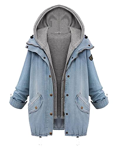 Mujeres Hoodies Jeans 2-In-1 Chaquetas Cardigans chaqueta casual clásico vintage ajustable Outwear abrigo Outlets