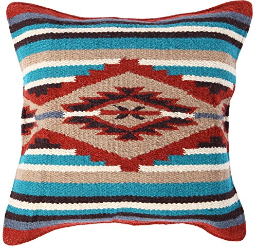El Paso Designs Throw Pillow Covers 18 X 18- Hand Woven Wool in Southwest, Mexican, and Native American Styles- Hand Crafted Western Decorative Pillow Cases in Wool. (Terracota Pyramid) (Pyramid Pillow)