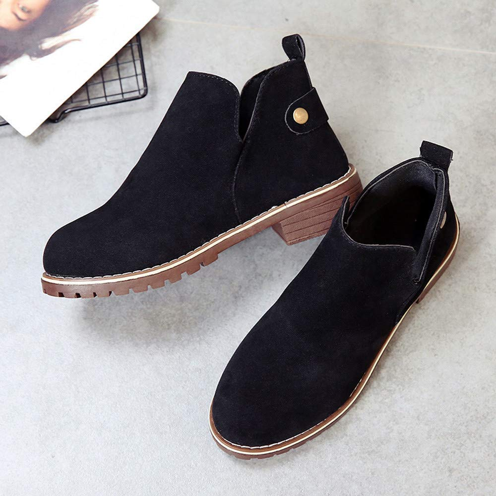 Women Classic Women Vintage Round Toe Shoes Flat Booties Hasp Suede Solid Color Martin Boots Cosy Wild Tight Super Casual Quality for Womens