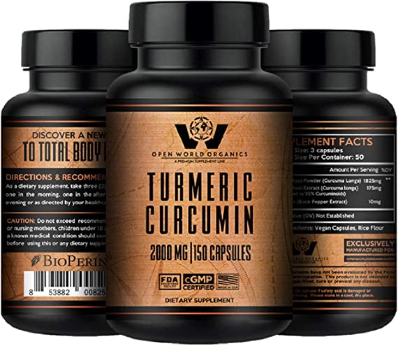 Turmeric Curcumin with Bioperine – 2000mg – MAX Strength – 95 Standardized Curcuminoids – Antioxidant,Anti-Inflammatory,Joint Support – by OPEN WORLD ORGANICS –