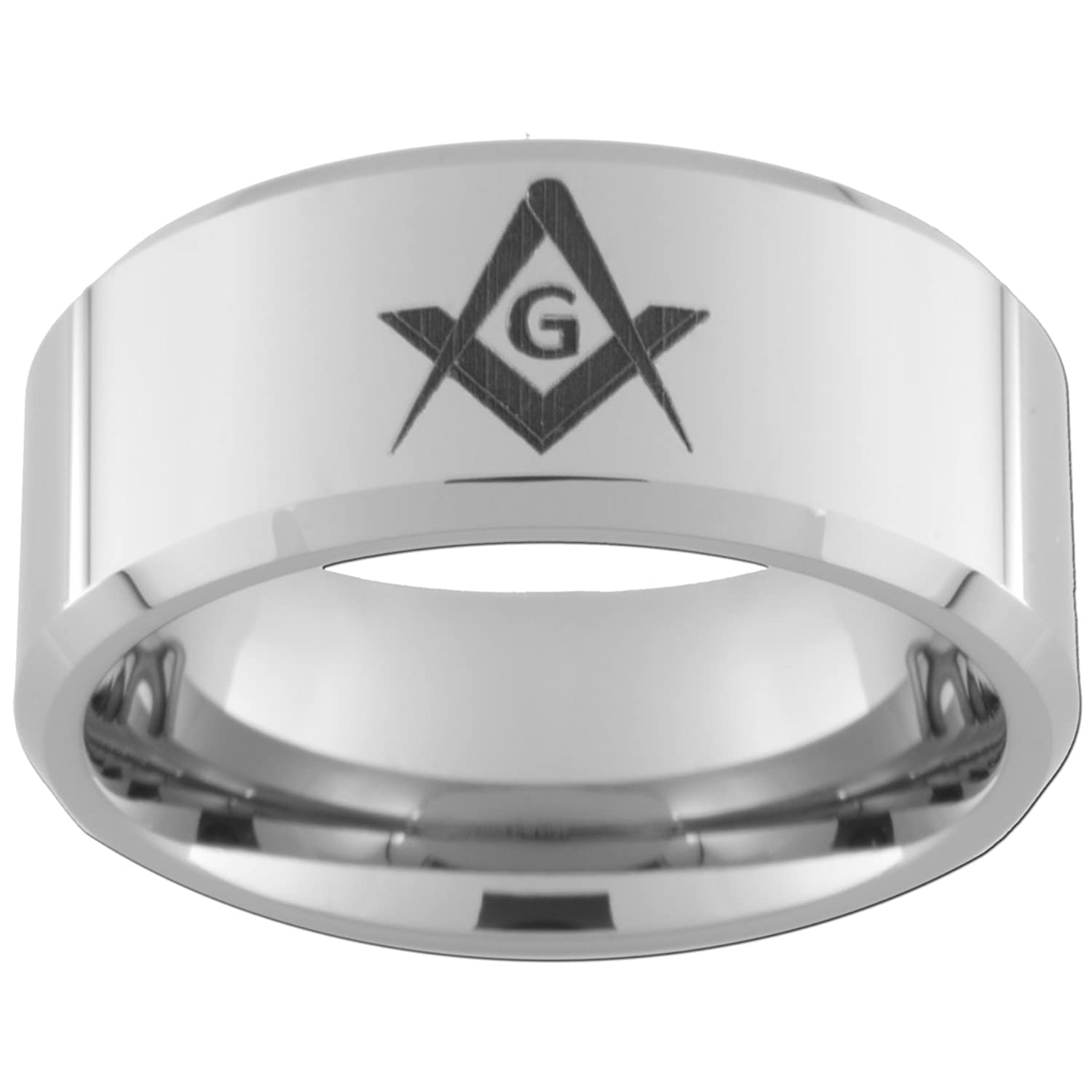10mm Tungsten Carbide Freemason Master Mason Rings (full and half sizes 5-15)