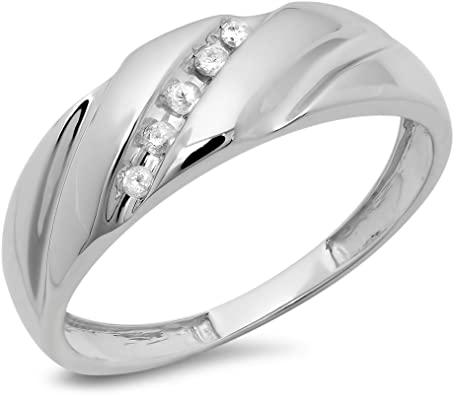 10KT Mens Wedding Anniversary Diamond Band White Gold 0.10CT